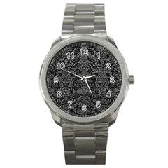 Damask2 Black Marble & Gray Leather Sport Metal Watch by trendistuff