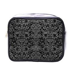 Damask2 Black Marble & Gray Leather Mini Toiletries Bags by trendistuff