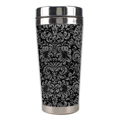 Damask2 Black Marble & Gray Leather Stainless Steel Travel Tumblers by trendistuff