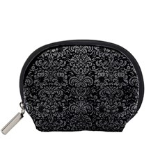 Damask2 Black Marble & Gray Leather Accessory Pouches (small)  by trendistuff
