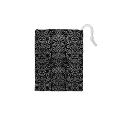 Damask2 Black Marble & Gray Leather Drawstring Pouches (xs)