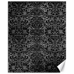 Damask2 Black Marble & Gray Leather (r) Canvas 11  X 14   by trendistuff