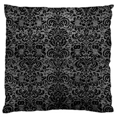 Damask2 Black Marble & Gray Leather (r) Large Flano Cushion Case (one Side) by trendistuff