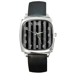 Stripes1 Black Marble & Gray Leather Square Metal Watch by trendistuff