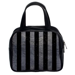 Stripes1 Black Marble & Gray Leather Classic Handbags (2 Sides) by trendistuff