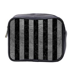 Stripes1 Black Marble & Gray Leather Mini Toiletries Bag 2 Side by trendistuff