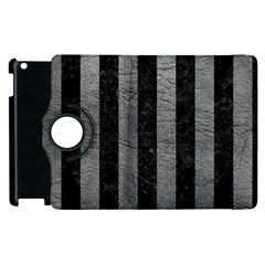 Stripes1 Black Marble & Gray Leather Apple Ipad 2 Flip 360 Case by trendistuff