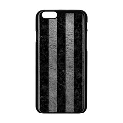 Stripes1 Black Marble & Gray Leather Apple Iphone 6/6s Black Enamel Case by trendistuff