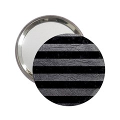 Stripes2 Black Marble & Gray Leather 2 25  Handbag Mirrors by trendistuff