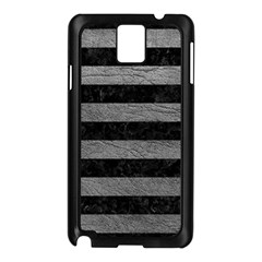 Stripes2 Black Marble & Gray Leather Samsung Galaxy Note 3 N9005 Case (black) by trendistuff