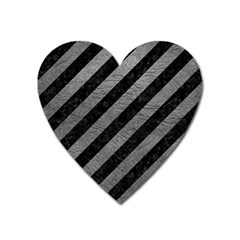 Stripes3 Black Marble & Gray Leather Heart Magnet by trendistuff