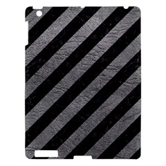 Stripes3 Black Marble & Gray Leather Apple Ipad 3/4 Hardshell Case by trendistuff