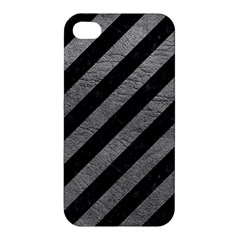 Stripes3 Black Marble & Gray Leather Apple Iphone 4/4s Premium Hardshell Case by trendistuff