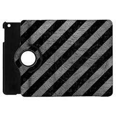 Stripes3 Black Marble & Gray Leather Apple Ipad Mini Flip 360 Case by trendistuff