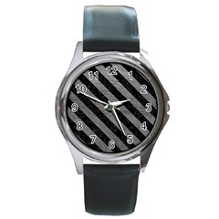 Stripes3 Black Marble & Gray Leather (r) Round Metal Watch by trendistuff