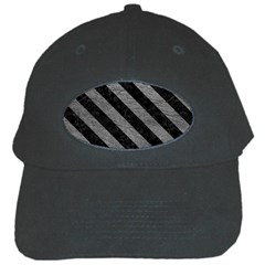 Stripes3 Black Marble & Gray Leather (r) Black Cap