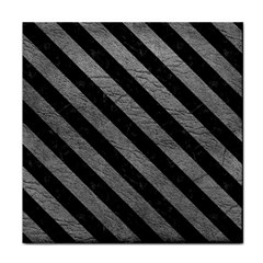 Stripes3 Black Marble & Gray Leather (r) Tile Coasters by trendistuff