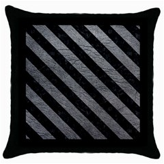 Stripes3 Black Marble & Gray Leather (r) Throw Pillow Case (black) by trendistuff