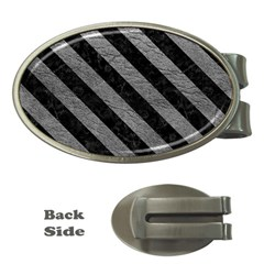 Stripes3 Black Marble & Gray Leather (r) Money Clips (oval)  by trendistuff