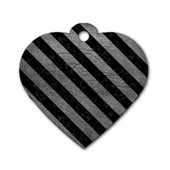 Stripes3 Black Marble & Gray Leather (r) Dog Tag Heart (one Side) by trendistuff