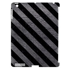 Stripes3 Black Marble & Gray Leather (r) Apple Ipad 3/4 Hardshell Case (compatible With Smart Cover) by trendistuff