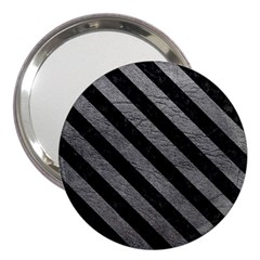 Stripes3 Black Marble & Gray Leather (r) 3  Handbag Mirrors by trendistuff