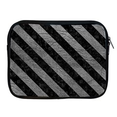 Stripes3 Black Marble & Gray Leather (r) Apple Ipad 2/3/4 Zipper Cases by trendistuff