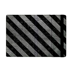 Stripes3 Black Marble & Gray Leather (r) Ipad Mini 2 Flip Cases by trendistuff