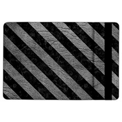 Stripes3 Black Marble & Gray Leather (r) Ipad Air 2 Flip