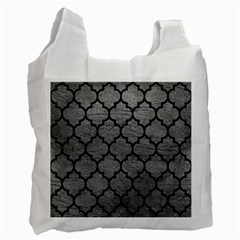 Tile1 Black Marble & Gray Leather (r) Recycle Bag (two Side)  by trendistuff