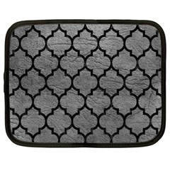 Tile1 Black Marble & Gray Leather (r) Netbook Case (xl)  by trendistuff
