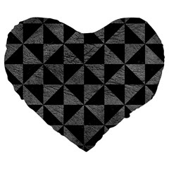 Triangle1 Black Marble & Gray Leather Large 19  Premium Flano Heart Shape Cushions by trendistuff