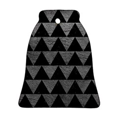 Triangle2 Black Marble & Gray Leather Bell Ornament (two Sides) by trendistuff