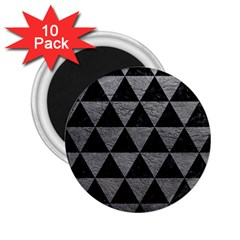 Triangle3 Black Marble & Gray Leather 2 25  Magnets (10 Pack)