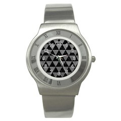 Triangle3 Black Marble & Gray Leather Stainless Steel Watch by trendistuff