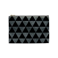 Triangle3 Black Marble & Gray Leather Cosmetic Bag (medium)  by trendistuff