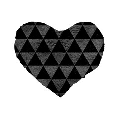 Triangle3 Black Marble & Gray Leather Standard 16  Premium Heart Shape Cushions by trendistuff