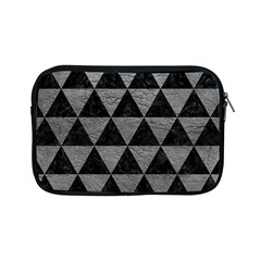 Triangle3 Black Marble & Gray Leather Apple Ipad Mini Zipper Cases by trendistuff