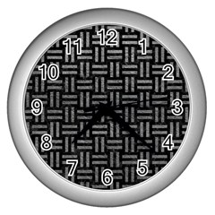 Woven1 Black Marble & Gray Leather Wall Clocks (silver)  by trendistuff