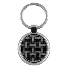 Woven1 Black Marble & Gray Leather Key Chains (round)