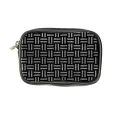 Woven1 Black Marble & Gray Leather Coin Purse by trendistuff