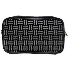 Woven1 Black Marble & Gray Leather Toiletries Bags by trendistuff