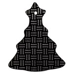 WOVEN1 BLACK MARBLE & GRAY LEATHER Ornament (Christmas Tree)  Front