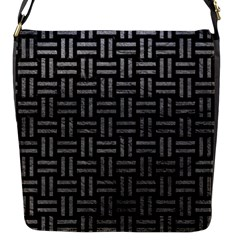 Woven1 Black Marble & Gray Leather Flap Messenger Bag (s) by trendistuff