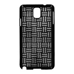 Woven1 Black Marble & Gray Leather Samsung Galaxy Note 3 Neo Hardshell Case (black) by trendistuff