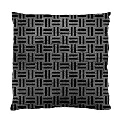 Woven1 Black Marble & Gray Leather (r) Standard Cushion Case (one Side) by trendistuff