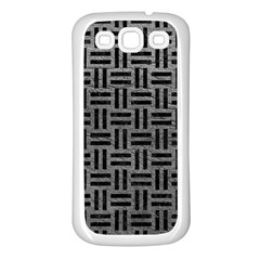 Woven1 Black Marble & Gray Leather (r) Samsung Galaxy S3 Back Case (white) by trendistuff