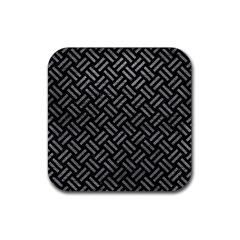 Woven2 Black Marble & Gray Leather Rubber Square Coaster (4 Pack)  by trendistuff