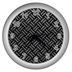Woven2 Black Marble & Gray Leather Wall Clocks (silver)  by trendistuff