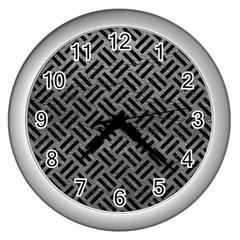 Woven2 Black Marble & Gray Leather (r) Wall Clocks (silver)  by trendistuff